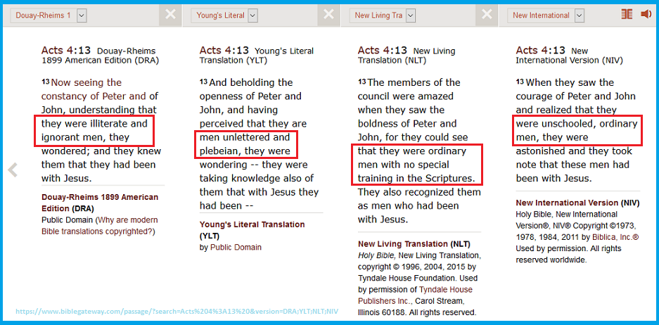 Acts 4.13 Four Translations Paralell about Illiterate John and Peter