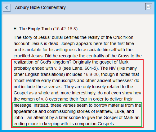 Asbury Commentary of Mark 16.9 20