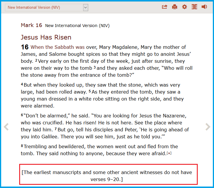 Mark 16.9 20 Resurrection of Jesus Missing in Ancient manuscripts